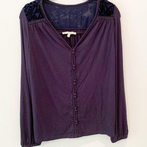 41Hawthorn Blue Long Sleeve Lace Shoulder Top